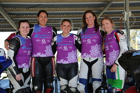 Rider Mentors from left to right, Sarah Fairbrother, Kiri Welsh, Tayla Relph, Holley Stoll and Michelle Benjak wearing Ladies Day at the Raceway custom bibs.
