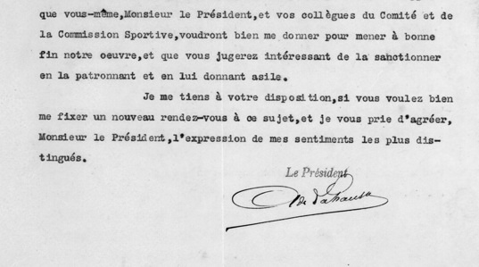 1905 Letter of the first FICM President A. de Lahausse to the CSI/ACF President Chevalier de Knyff Third page