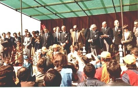 1978 Spanish Grand Prix 125cc podium ceremony Thierry Espié FRA 2nd Eugenio Lazzarini ITA 1st Harald Bartol AUT 3rd (Behind)FIM Prtesident Nicolas Rodil del Valle