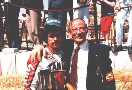 1981 Carlos Lavado VEN GP250 rider Andrea Ippolito VEN FIM/CCR member Circuit of Jarama SPA