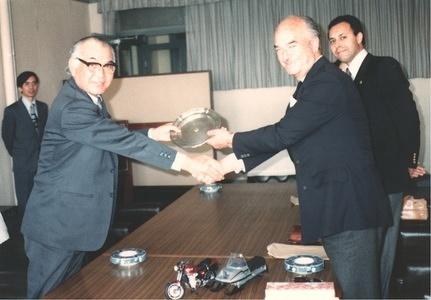 1980 FIM President Nicolas Rodil del Valle & Secretary General Guy Maitre visiting Japan Kawasaki Factory