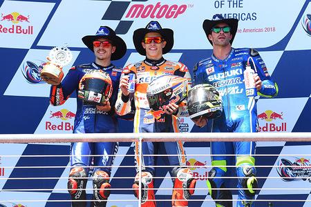 Maverick VINALES SPA  / Marc MARQUEZ SPA  / Andrea IANNONE ITA  Podium MotoGP  GP Americas 2018 (Circuit COTA) 20-22.4.2018 PSP/ Lukasz Swiderek  www.photoPSP.com @photoPSP  FIM MotoGP World Championship - Austin (USA)