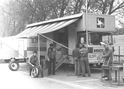 The Michelin truck in the paddock