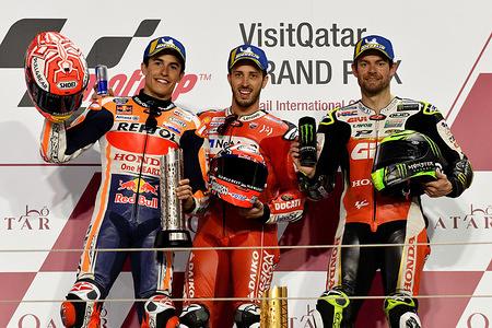MARC MARQUEZ SPA / ANDREA DOVIZIOSO ITA / CAL CRUTCHLOW GBR  Podium MotoGP  GP Qatar 2019 (Circuit Losail) 08-10.03.2019 photo: Lukasz Swiderek www.photoPSP.com 2019 FIM MotoGP World Championsip - Losail (QAT)