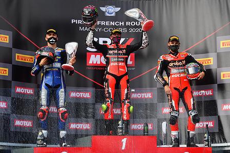 Loris Baz FRA / Scott Redding GBR / Chaz Davies GBR Podium 2 Superbike   WSBK France 2020 (Circuit Magny-Cours) 3-4.10.2020 photo: Lukasz Swiderek www.photoPSP.com @photopsp_lukasz_swiderek