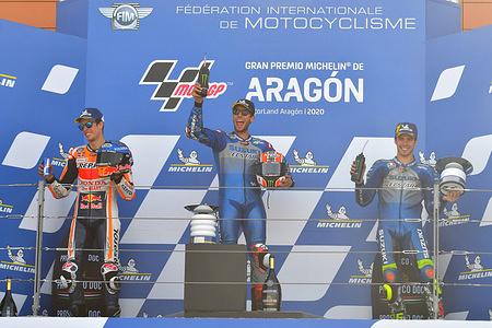 ALEX MARQUEZ SPA / ALEX RINS SPA / JOAN MIR SPA  Podium MotoGP   GP Aragon 2020 (Circuit Motorland Aragon) 16-18.10.2020 photo: Lukasz Swiderek www.photoPSP.com @photopsp_lukasz_swiderek