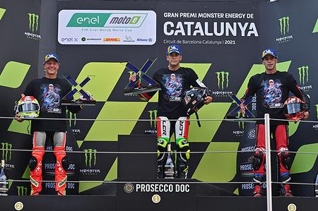 DOMINIQUE AEGERTER SWI / MIQUEL PONS SPA  / JORDI TORRES SPA  Podium MotoE   GP Catalunya 2021 (Circuit Barcelona) 4-6.06.2021 photo: Lukasz Swiderek www.photoPSP.com @photopsp_lukasz_swiderek